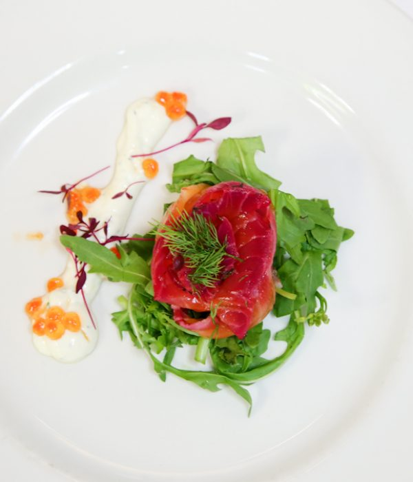 Beetroot Cured Salmon Starter | corporate event catering services| London